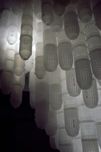 detailed view Deceive 2012, plastic shrimp traps, Lights, installation at PingPong art space Taiwan, size 300 x 300 x 350 - Wolfgang Stiller