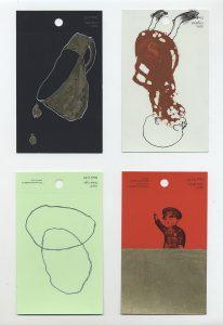 aspects of life, 2004 No 14;15;16;17, Mischtechnik auf Farbkartenmustern, Format : jeweils 12,8 x 7,6 cm - Wolfgang Stiller