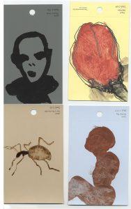 aspects of life, 2004 No 36;37;38;39, Mischtechnik auf Farbkartenmustern, Format : jeweils 12,8 x 7,6 cm - Wolfgang Stiller