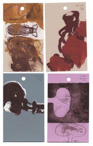 aspects of life 2004 No 40;41;42;43, Mischtechnik auf Farbkartenmustern, Format : jeweils 12,8 x 7,6 cm- Wolfgang Stiller