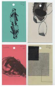 aspects of life, 2004 No 28;29;30;31, Mischtechnik auf Farbkartenmustern, Format : jeweils 12,8 x 7,6 cm - Wolfgang Stiller