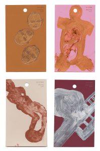 aspects of life, 2004 No 10;11;12;13, Mischtechnik auf Farbkartenmustern, Format : jeweils 12,8 x 7,6 cm - Wolfgang Stiller