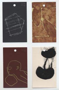aspects of life, 2004 No 18;19;20;21, Mischtechnik auf Farbkartenmustern, Format : jeweils 12,8 x 7,6 cm - Wolfgang Stiller