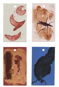 aspects of life, 2004 No 6;7;8;9, Mischtechnik auf Farbkartenmustern, Format : jeweils 12,8 x 7,6 cm - Wolfgang Stiller