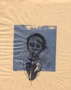 Tribute to the hereafter, 1996 - 2010 - auf-Blau - Tusche und Goldlack auf chinesischem Opferpapier - Wolfgang Stiller