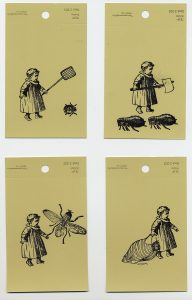 aspects of life 2004  Tierquaeler, Mischtechnik auf Farbkartenmustern, Format : jeweils 12,8 x 7,6 cm - Wolfgang Stiller