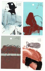 aspects of life, 2005 Mischtechnik auf Farbkartenmustern, Format : jeweils 12,8 x 7,6 cm - Wolfgang Stiller