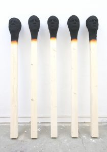 group of 5 Matchstick men 2019, each 155 cm wood,PU,paint   - Wolfgang Stiller