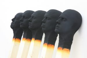 group of 5 Matchstick men 2019, each 155 cm wood,PU,paint  detail- Wolfgang Stiller