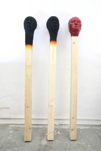 group of 3 Matchstick men 2019, each 155 cm wood,PU,paint   - Wolfgang Stiller