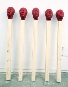 group of 5 Matchstick men 2020, each 155 cm wood,PU,paint  - Wolfgang Stiller